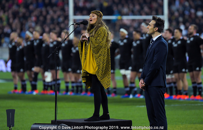 Maisey Rika sings the NZ national anthem during the Rugby Championship rugby union match between the New Zealand All Blacks and South Africa Springboks at Westpac Stadium in Wellington, New Zealand on Saturday, 27 July 2019. Photo: Dave Lintott / lintottphoto.co.nz