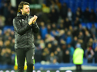 Lincoln City manager Danny Cowley applauds the fans at the final whistle<br /> <br /> Photographer Andrew Vaughan/CameraSport<br /> <br /> Emirates FA Cup Third Round - Everton v Lincoln City - Saturday 5th January 2019 - Goodison Park - Liverpool<br />  <br /> World Copyright &copy; 2019 CameraSport. All rights reserved. 43 Linden Ave. Countesthorpe. Leicester. England. LE8 5PG - Tel: +44 (0) 116 277 4147 - admin@camerasport.com - www.camerasport.com