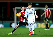 2nd December 2017, Griffen Park, Brentford, London; EFL Championship football, Brentford versus Fulham; Ryan Woods of Brentford intercepts Stefan Johansen of Fulham