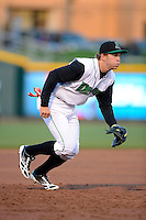 Dayton Dragons third baseman Tanner Rahier #8 during a game against the Bowling Green Hot Rods on April 20, 2013 at Fifth Third Field in Dayton, Ohio.  Dayton defeated Bowling Green 6-3.  (Mike Janes/Four Seam Images)