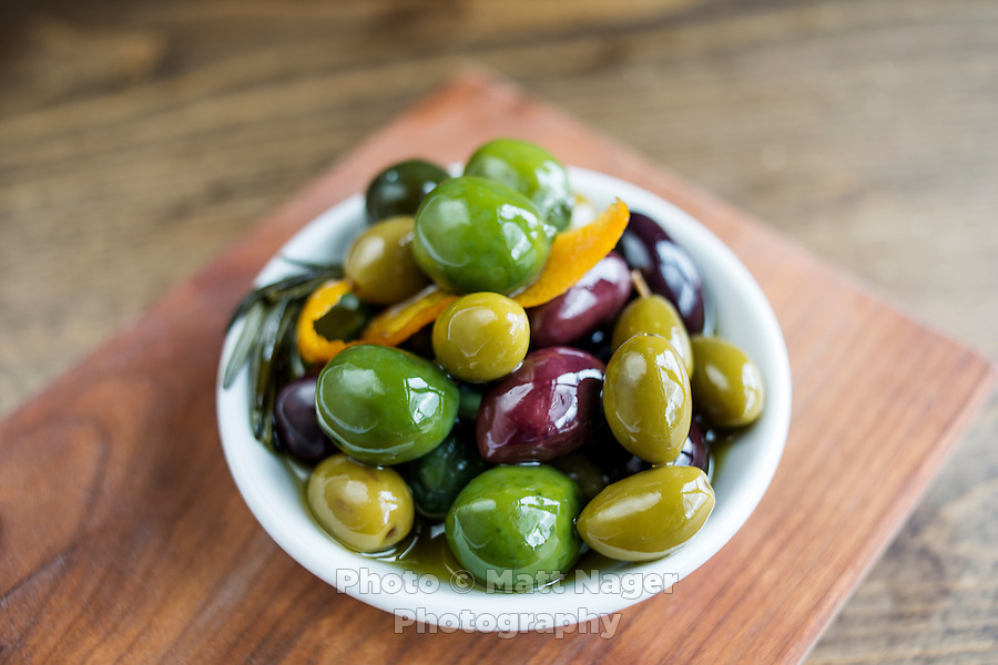 Marinated Olives at The Kitchen in Boulder, Colorado, Friday, March 13, 2015. The Kitchen is a &quot;farm-to-table&quot; restaurant serving good food at decent prices. <br /> <br /> Photo by Matt Nager