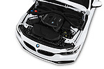 Car stock 2019 BMW 4 Series 430i Gran Coupe 5 Door Hatchback engine high angle detail view