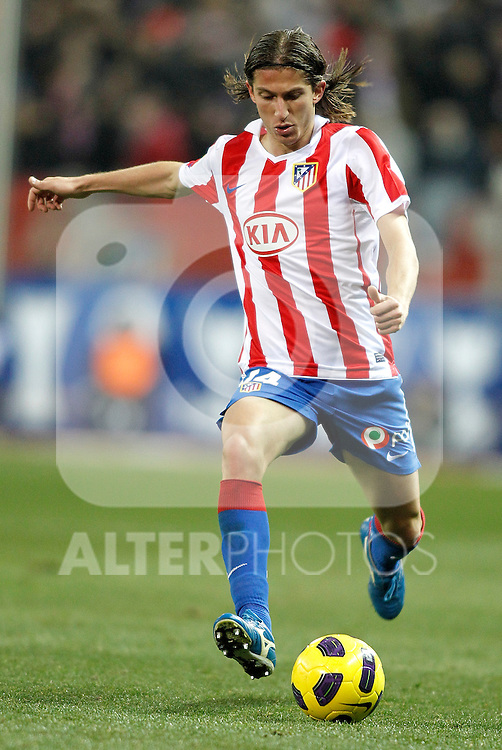 Atletico de Madrid's Filipe Luis during King's Cup match. January 21, 2011. (ALTERPHOTOS/Alvaro Hernandez).