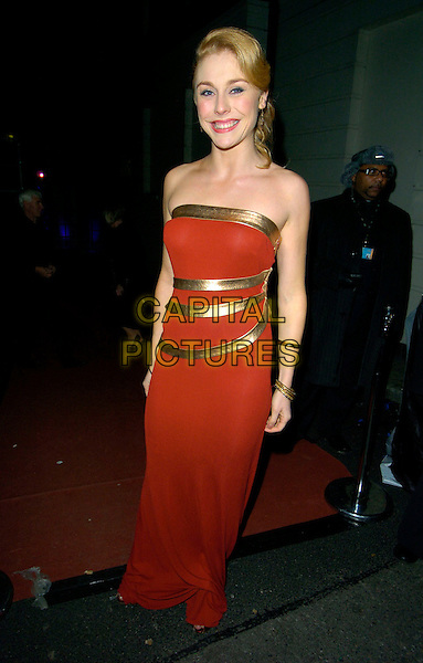 KELLY PRICE.Desperately Seeking Susan - press night, The Novello Theatre, The Alwych, London, England..November 15th, 2007.full length red strapless dress gold .CAP/CAN.©Can Nguyen/Capital Pictures