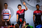 Geraint Thomas (WAL) and Team Ineos introduced on stage at the Team Presentation before Stage 1 of the Deutschland Tour 2019, running 167km from Hannover to Halberstadt, Germany. 29th August 2019.<br /> Picture: ASO/Henning Angerer | Cyclefile<br /> All photos usage must carry mandatory copyright credit (© Cyclefile | ASO/Henning Angerer)