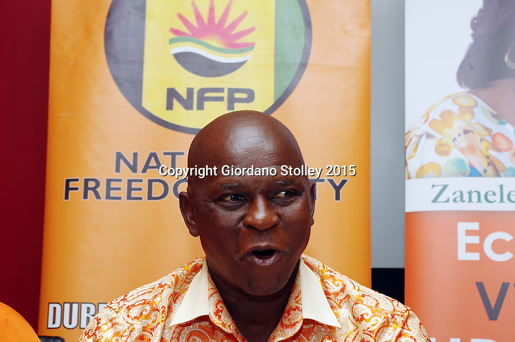 DURBAN, 14 January 2015 - Maliyakhe Shelembe, chairman of the National Freedom Party fields questions at a press briefing in Durban, where it was revealed that none of the party leadership had been in contact since the party's leader Zanele kaMagwaza-Msibi reportedly suffered a stroke in November. Picture: Allied Picture Press/APP