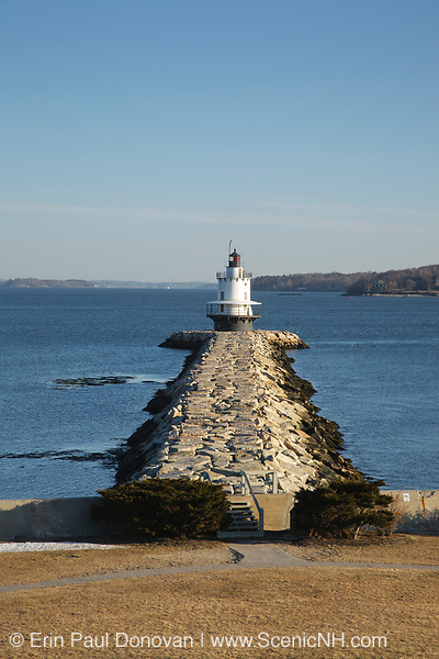 Spring Point Ledge Light at Fort Preble in South Portland, Maine USA during the winter months. Spring Point Ledge Light was built in 1897 and is a sparkplug style Lighthouse. And is located at the end of a 900-foot granite breakwater.