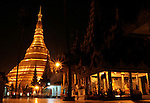 Night view of the Shwedagon Paya. Is the most sacred of all sites in the country