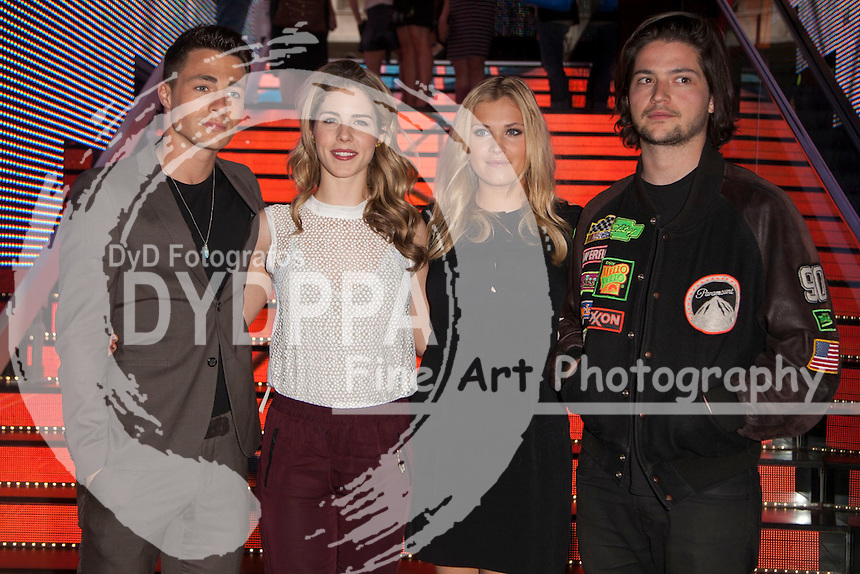 "The actors Thomas McDonell, Eliza Taylor, Colton Haynes and Emily Bett Rickards attends the fan event of the tv shows ARROW and THE 100, at the ""ATRESMEDIA CAFE""   in Madrid, Spain. Jun 9, 2014. Photo by Nacho lopez/ DyD Fotografos-DYDPPA"