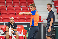 The Hague, The Netherlands, September 11, 2017,  Sportcampus , Davis Cup Netherlands - Chech Republic, training, Captain Paul Haarhuis (M) instructs Matwe Middelkoop (NED) (R) and Tallon Griekspoor (NED)<br /> Photo: Tennisimages/Henk Koster