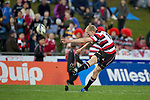 Baden Kerr converts the Fritz Lee try. ITM Cup rugby game between Counties Manukau and Manawatu played at Bayer Growers Stadium on Saturday August 21st 2010..Counties Manukau won 35 - 14 after leading 14 - 7 at halftime.