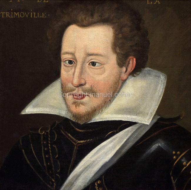 Portrait of Monsieur de la Trimouille, oil painting on canvas, c. 1625, by unknown artist, from the Gallery of portraits from the Chateau de Saint Germain-Beaupre, Creuse, now in the Musee des Beaux-Arts de la Ville de Blois, housed since 1869 on the first floor of the Louis XII wing of the Chateau Royal de Blois, built 13th - 17th century in Blois in the Loire Valley, Loir-et-Cher, Centre, France. The museum originally opened in 1850 in the Francois I wing, but moved here in 1869 after the rooms had been restored by Felix Duban in 1861-66. The chateau has 564 rooms and 75 staircases and is listed as a historic monument and UNESCO World Heritage Site. Picture by Manuel Cohen