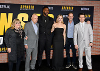 """LOS ANGELES, CA: 27, 2020: Colleen Camp, Alan Arkin, Winston Duke, Iliza Shlesinger, Peter Berg & Mark Wahlberg  at the world premiere of """"Spenser Confidential"""" at the Regency Village Theatre.<br /> Picture: Paul Smith/Featureflash"""
