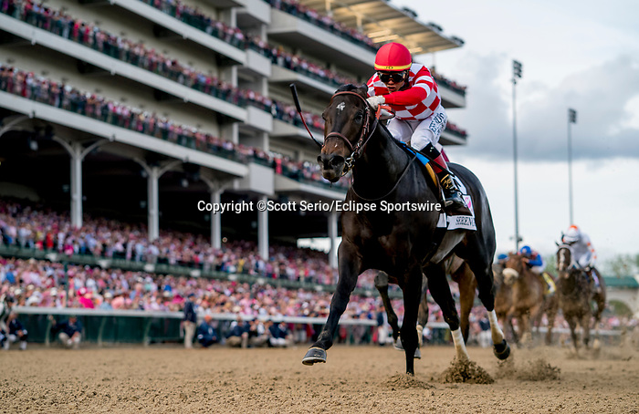 May 3, 2019 : Serengeti Empress, #13, ridden by Jose L Ortiz, wins the Longines Kentucky Oaks on Kentucky Oaks Day at Churchill Downs on May 3, 2019 in Louisville, Kentucky. Scott Serio/Eclipse Sportswire/CSM
