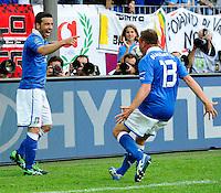 GDANSK, POLONIA, 10 JUNHO 2012 - EURO 2012 -  ESPANHA X ITALIA - Antonio Di Natale jogador da Italia (E) comemora gol contra a Espanha, em jogo valido pela primeira rodada do Grupo C, na Arena de Gdansk na Polonia neste domingo, 10. (FOTO: DANIELE BUFFA / PIXATHLON / BRAZIL PHOTO PRESS.