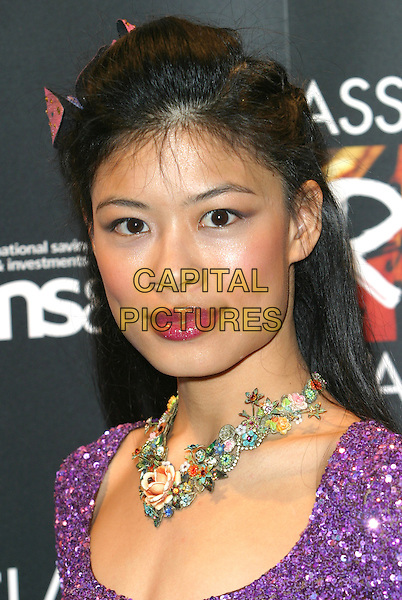 VANESSA MAE.The Classical Brit Awards Nominations Party at The Landmark Hotel, London..April 21st, 2004.headshot portrait flowers floral necklace jewellery.www.capitalpictures.com.sales@capitalpictures.com.©Capital Pictures.