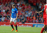 05.08.18 Aberdeen v Rangers: Ryan Jack stands up after his head knock then falls back down