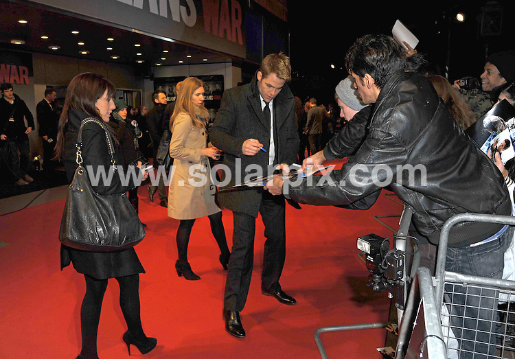 "**ALL ROUND PICTURES FROM SOLARPIX.COM**                                             **WORLDWIDE SYNDICATION RIGHTS**                                                                                  Stars arrive for the ""This Means War"" UK film premiere  Odeon Kensington High Street in London                                                                          .This pic:    Chris Pine.JOB REF:   14400     MSR       DATE:  30.01.12                                                          **MUST CREDIT SOLARPIX.COM OR DOUBLE FEE WILL BE CHARGED**                                                                      **MUST AGREE FEE BEFORE ONLINE USAGE**                               **CALL US ON: +34 952 811 768 or LOW RATE FROM UK 0844 617 7637**"