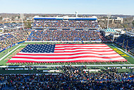 Annapolis, MD - DEC 28, 2017: Giant American Flag is displayed before game between Virginia and Navy at the Military Bowl presented by Northrop Grunman at Navy-Marine Corps Memorial Stadium Annapolis, MD. (Photo by Phil Peters/Media Images International)