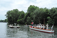 "Henley on Thames, United Kingdom, 23rd June 2018, Saturday,   ""Henley Women's Regatta"",  view, Umpires , launch, umpire, with  ""Red Flag"", raised, ""start of a heat"" of the, ""women's single sculls"", Henley Reach, River Thames, England, © Peter SPURRIER"