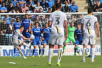Nathan Broadhead of Burton Albion curls a free-kick just wide of the Gillingham goal during Gillingham vs Burton Albion, Sky Bet EFL League 1 Football at The Medway Priestfield Stadium on 10th August 2019