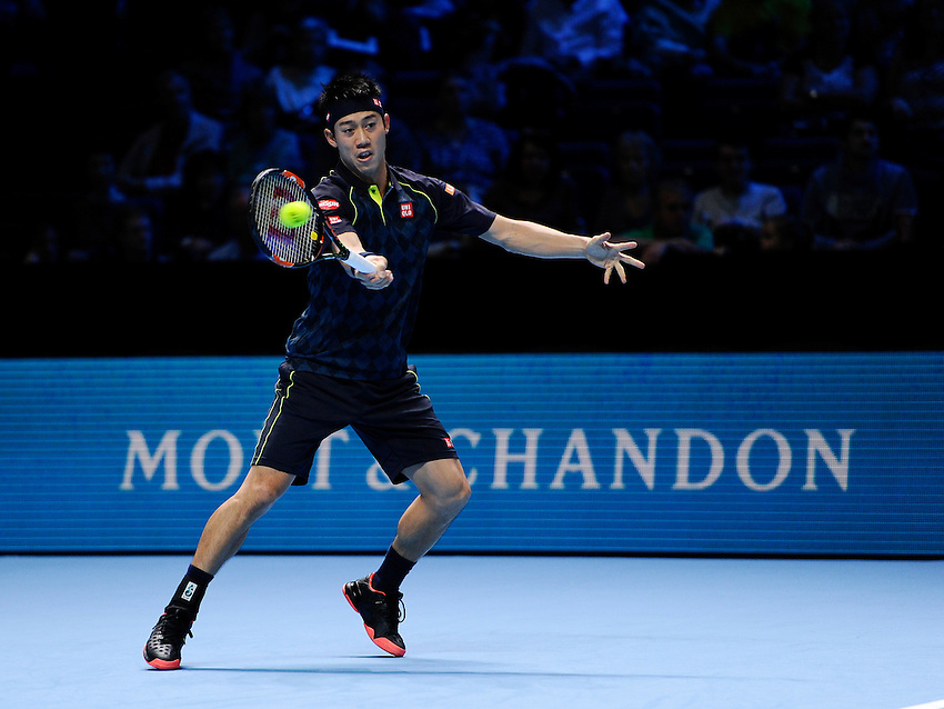 Kei Nishikori in action against Tomas Berdych in their Stan Smith Group match today<br /> <br /> Photographer Ashley Western/CameraSport<br /> <br /> International Tennis - Barclays ATP World Tour Finals - O2 Arena - London - Day 3 - Tuesday 17th November 2015<br /> <br /> &copy; CameraSport - 43 Linden Ave. Countesthorpe. Leicester. England. LE8 5PG - Tel: +44 (0) 116 277 4147 - admin@camerasport.com - www.camerasport.com