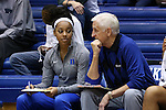08 November 2015: Duke's Lexie Brown (left) talks with assistant coach Al Brown (right). The Duke University Blue Devils hosted the Saint Leo University Lions at Cameron Indoor Stadium in Durham, North Carolina in a 2015-16 NCAA Women's Basketball Exhibition game. Duke won the game 116-33.