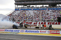 Apr. 5, 2013; Las Vegas, NV, USA: NHRA top fuel dragster driver Tony Schumacher during qualifying for the Summitracing.com Nationals at the Strip at Las Vegas Motor Speedway. Mandatory Credit: Mark J. Rebilas-
