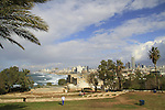 Israel, Tel Aviv-Yafo, Hapisga garden in Old Jaffa, Tel Aviv is in the background