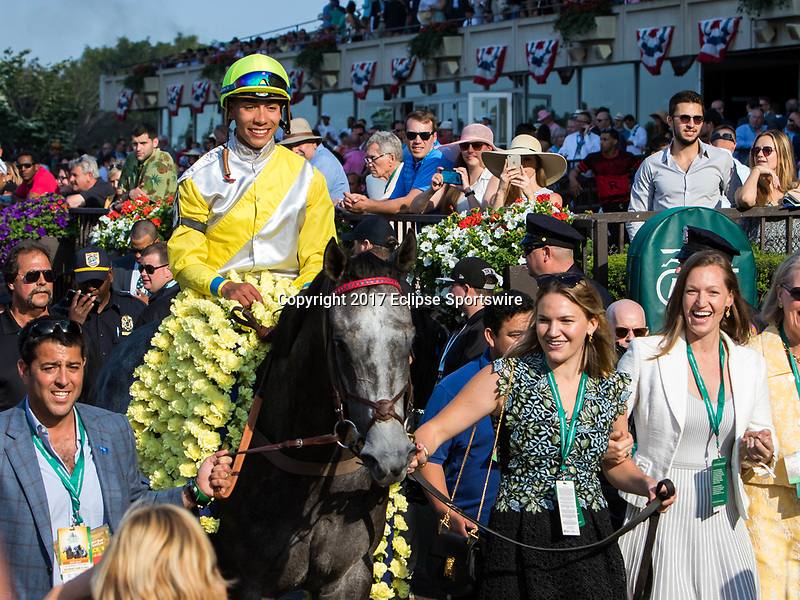 ELMONT, NY - JUNE 10: Ascend #5, ridden by Jose Ortiz, is led to the winner's circle after winning the Woodford Reserve Manhattan Stakes on Belmont Stakes Day at Belmont Park on June 10, 2017 in Elmont, New York (Photo by Sue Kawczynski/Eclipse Sportswire/Getty Images)