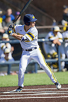 Michigan Wolverines outfielder Matt Ramsay (19) at bat against the Central Michigan Chippewas on March 29, 2016 at Ray Fisher Stadium in Ann Arbor, Michigan. Michigan defeated Central Michigan 9-7. (Andrew Woolley/Four Seam Images)