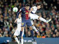 FC Barcelona's Sergio Busquets (l) and Real Madrid's Sami Khedira during Copa del Rey - King's Cup semifinal second match.February 26,2013. (ALTERPHOTOS/Acero) /Nortephoto