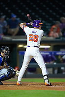 Seth Beer (28) of the Clemson Tigers at bat against the Duke Blue Devils in Game Three of the 2017 ACC Baseball Championship at Louisville Slugger Field on May 23, 2017 in Louisville, Kentucky. The Blue Devils defeated the Tigers 6-3. (Brian Westerholt/Four Seam Images)