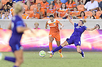 Houston, TX - Saturday Sept. 03, 2016: Carli Lloyd, Becky Edwards during a regular season National Women's Soccer League (NWSL) match between the Houston Dash and the Orlando Pride at BBVA Compass Stadium.