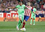 Atletico de Madrid's Gabi Fernandez (r) and Getafe's Wanderson during La Liga match.September 22,2015. (ALTERPHOTOS/Acero)