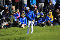 Celine Boutier (EUR) on the 17th during Day 3 Singles at the Solheim Cup 2019, Gleneagles Golf CLub, Auchterarder, Perthshire, Scotland. 15/09/2019.<br /> Picture Thos Caffrey / Golffile.ie<br /> <br /> All photo usage must carry mandatory copyright credit (© Golffile | Thos Caffrey)