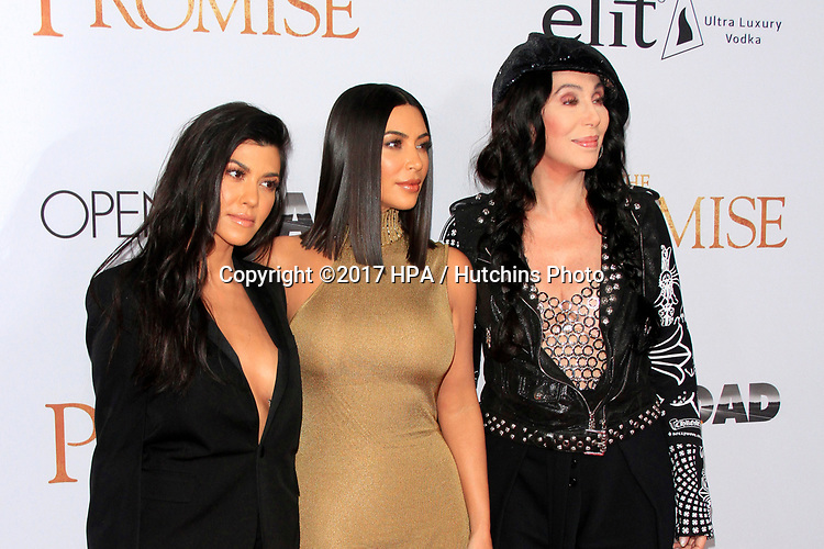 "LOS ANGELES - APR 12:  Kourtney Kardashian, Cher, Kim Kardashian at the ""The Promise"" Premiere at the TCL Chinese Theater IMAX on April 12, 2017 in Los Angeles, CA"