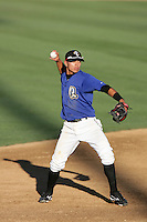 Darwin Perez of the Rancho Cucamonga Quakes during game against the Stockton Ports at The Epicenter in Rancho Cucamonga,California on August 15, 2010. Photo by Larry Goren/Four Seam Images