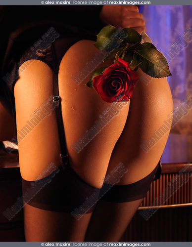Erotic photo of a Sexy woman in black stockings holding a red rose in her hands behind her back