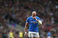 Sergio Parisse of Italy looks dejected during a break in play. Guinness Six Nations match between England and Italy on March 9, 2019 at Twickenham Stadium in London, England. Photo by: Patrick Khachfe / Onside Images