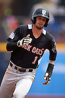 New Britain Rock Cats designated hitter David Dahl (1) running the bases during a game against the Akron RubberDucks on May 21, 2015 at Canal Park in Akron, Ohio.  Akron defeated New Britain 4-2.  (Mike Janes/Four Seam Images)