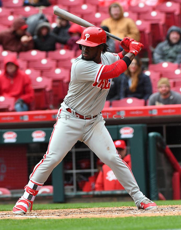 Philadelphia Phillies Odubel Herrera (37) during a game against the Cincinnati Reds on April 6, 2017 at Great American Ballpark in Cincinnati, OH. The Reds beat the Phillies 4-7.