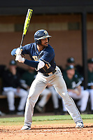 Third baseman Liam Sabino (11) of the Pittsburgh Panthers bats in a game against the University of South Carolina Upstate Spartans on Saturday, February 24, 2018, at Cleveland S. Harley Park in Spartanburg, South Carolina. Pittsburgh won, 3-1. (Tom Priddy/Four Seam Images)