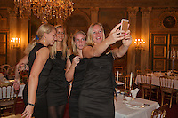 Februari 04, 2015, Apeldoorn, Omnisport, Fed Cup, Netherlands-Slovakia, Official Diner in Het Loo palace, Team Netherlands, l.t.r.: Michaella Krajicek, Arantxa Rus, Richel Hogenkamp,   Kiki Bertens, making a selfie<br /> Photo: Tennisimages/Henk Koster