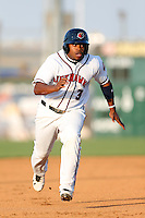 Delino DeShields #3 of the Lancaster JetHawks runs the bases during a game against the Bakersfield Blaze at The Hanger on July 2, 2013 in Adelanto, California. Lancaster defeated Bakersfield, 12-1. (Larry Goren/Four Seam Images)