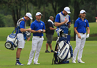 Paul Casey (Europe) and Tommy Fleetwood (Europe) on the 8th fairway during the Friday Foursomes of the Eurasia Cup at Glenmarie Golf and Country Club on the 12th January 2018.<br /> Picture:  Thos Caffrey / www.golffile.ie