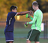 Cole Huertas #6 of Plainview JFK, left, and goalie #4 Will Price celebrate after their team's 1-0 win over host Westbury High School in a Nassau County Conference AA-3 boys soccer game on Friday, Oct. 14, 2016.