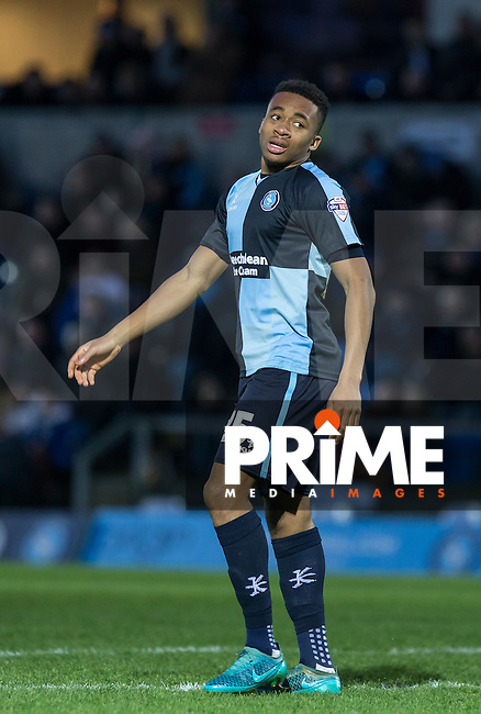 Jermaine Udumaga of Wycombe Wanderers during the Sky Bet League 2 match between Wycombe Wanderers and Leyton Orient at Adams Park, High Wycombe, England on 23 January 2016. Photo by Andy Rowland / PRiME Media Images.