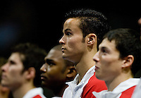 Paul Ruggeri of University of Illinois is pictured during national anthem before the 2012 US Olympic Trials competition at HP Pavilion in San Jose, California on June 28th, 2012.