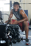 Arizona Cardinals wide receiver Larry works out during a portrait session.